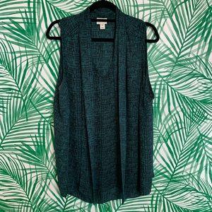 Ava & Viv green black tie neck tank blouse 2X